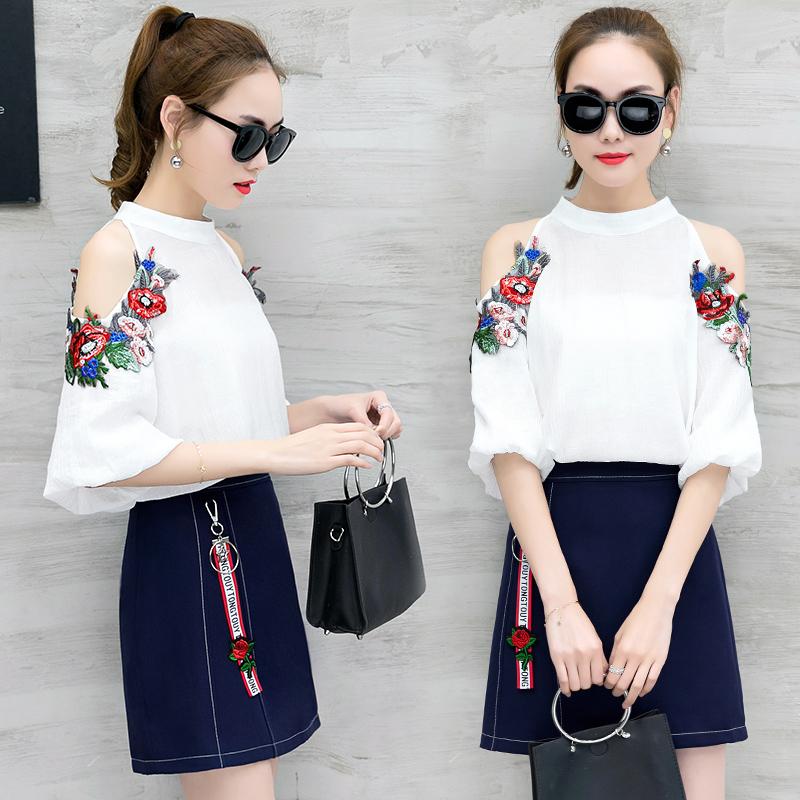 绣花花朵送裹胸两件套半身短袖春夏韩版套装露肩雪纺衫