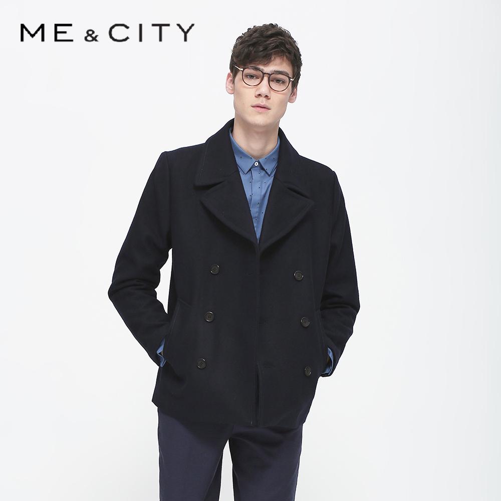 【2件8折】MECITY男式基本双排扣短款呢大衣