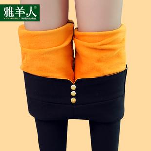 加绒加厚打底裤女士黑色小脚女裤高腰保暖2016新款百搭潮冬季外穿