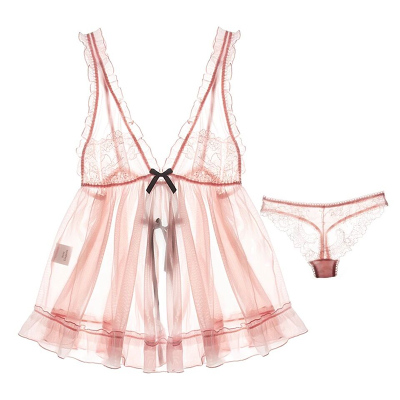性感睡衣女夏吊带睡裙透明薄纱蕾丝粉色甜美小胸诱惑火辣情趣内衣