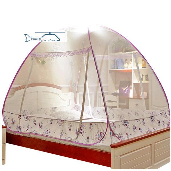 金喜路 免安装折叠蒙古包蚊帐圆顶坐床式拉链双开门1.5/1.8m米床