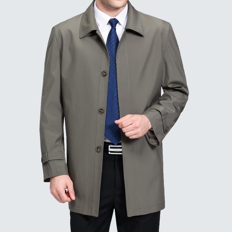 中年男风衣纽扣子外套春秋季中老年男装宽松中长款风衣爸爸装上衣
