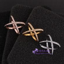 MK镶钻交叉X交错三角形 简约款百搭戒指/指环