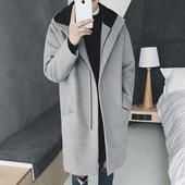 2016冬季新款男士中长款风衣韩版学生连帽外套青少年毛呢大衣男潮