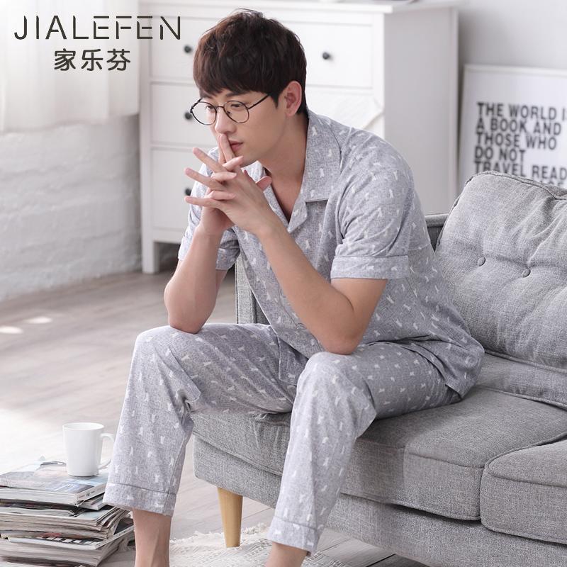 长裤睡衣男士加大纯棉男款日式韩版开衫短袖家居服夏季套装