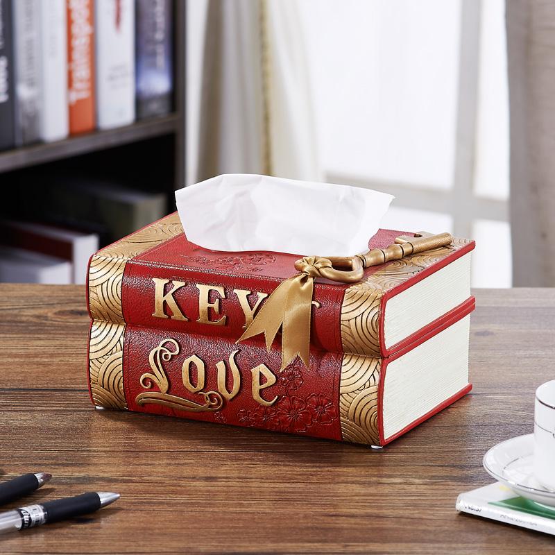 好心艺 创意欧式简约可爱复古书本造型客厅纸巾盒抽纸盒纸巾筒