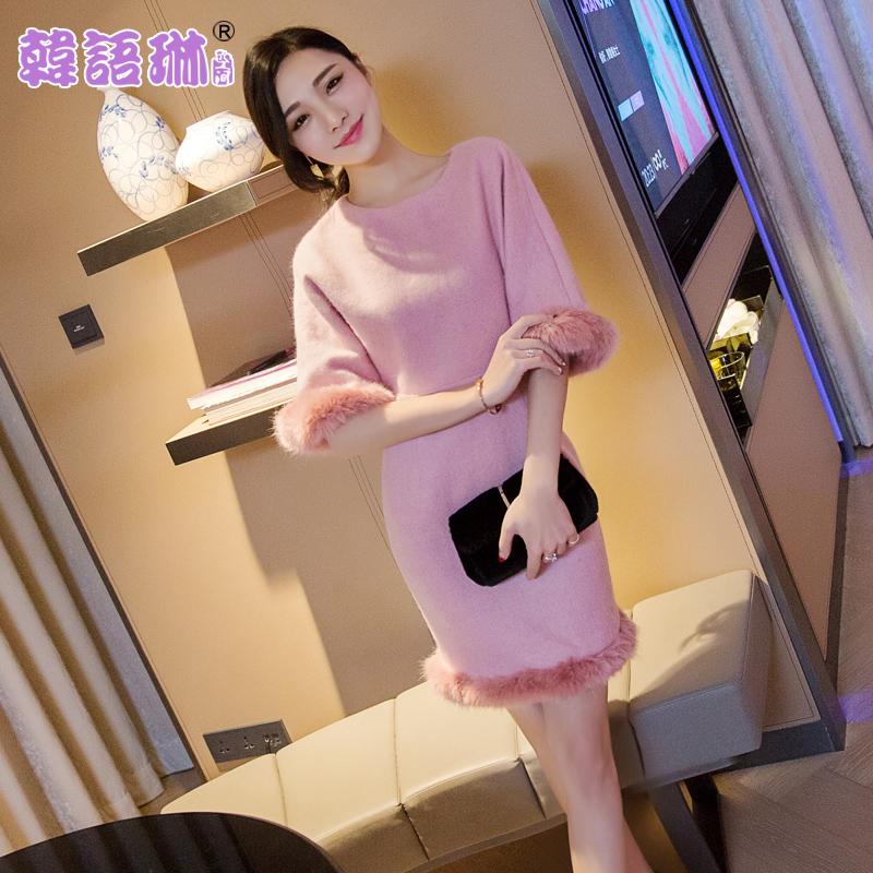 韩语琳空间秋冬女装2017韩版气质圆领修身包臀毛呢连衣裙子 显瘦