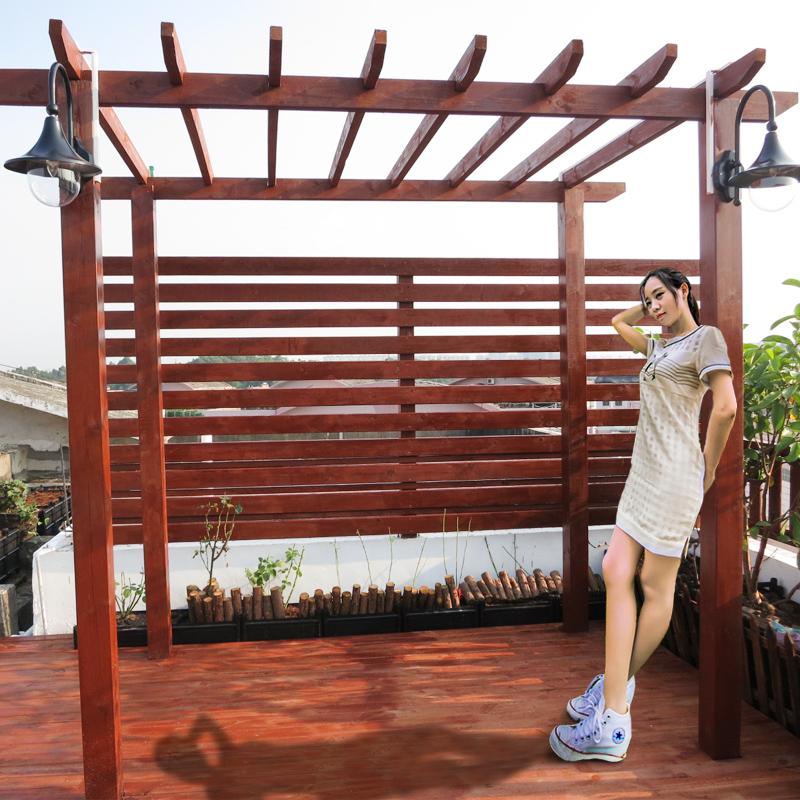 葡萄架简易庭院阳台防腐木板花架碳化木户外木地板 防腐木爬藤架