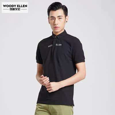 伍迪艾伦 短袖t恤男夏季修身半袖纯棉体恤翻领polo衫男士短袖上衣