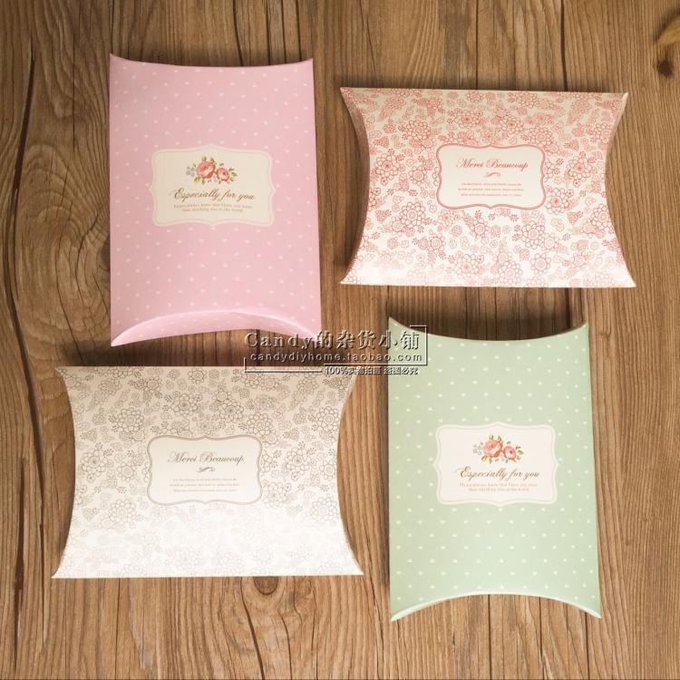 定制款清新糖果盒/枕头造型纸盒/礼品包装盒/DIY小号礼物盒5个