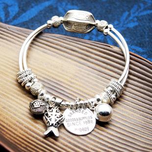原创925纯银饰品 复古小清新简约女款闺蜜定制生日礼物 纯银手链