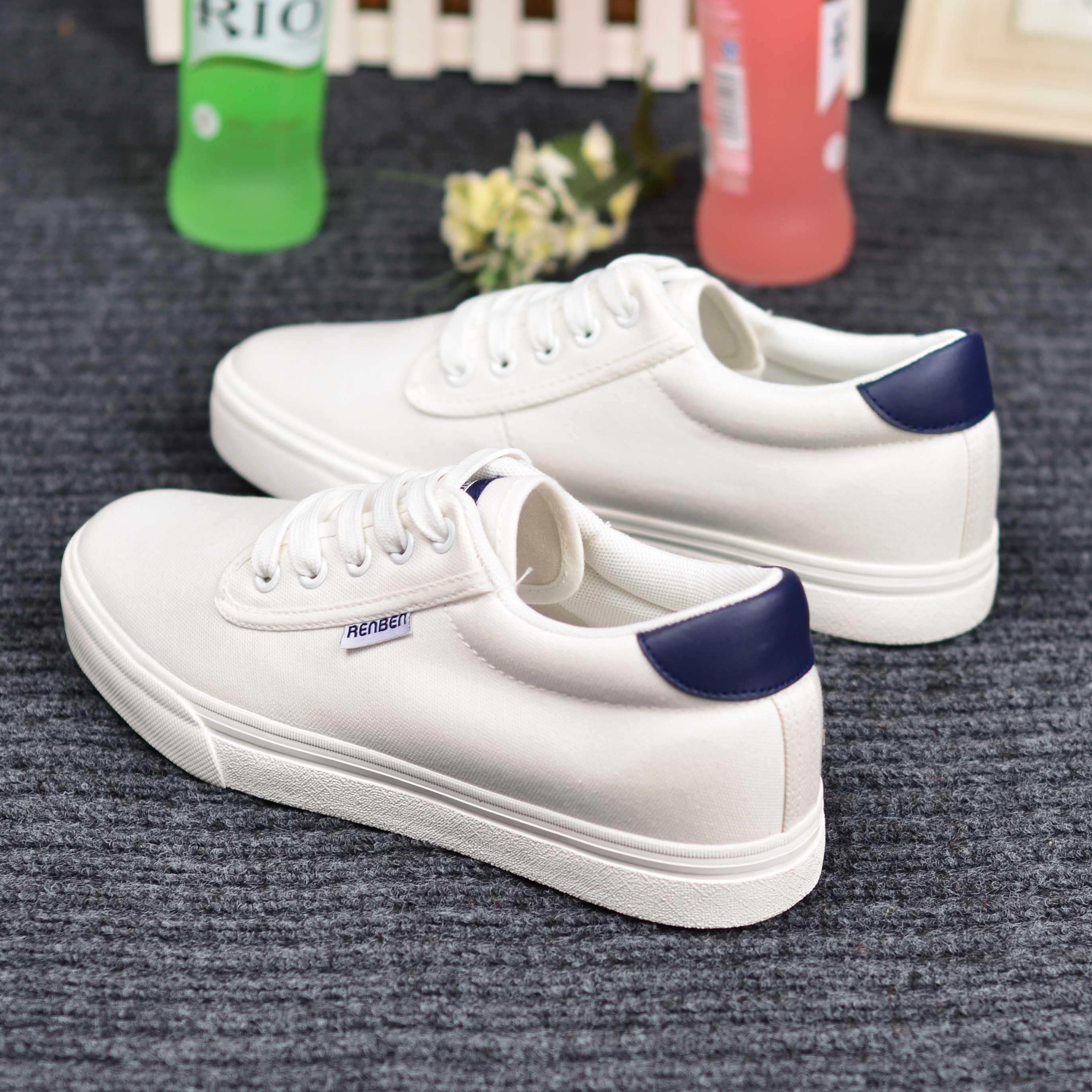 小白鞋平底韩版潮 低帮鞋学生 帆布鞋春季 鞋子休闲