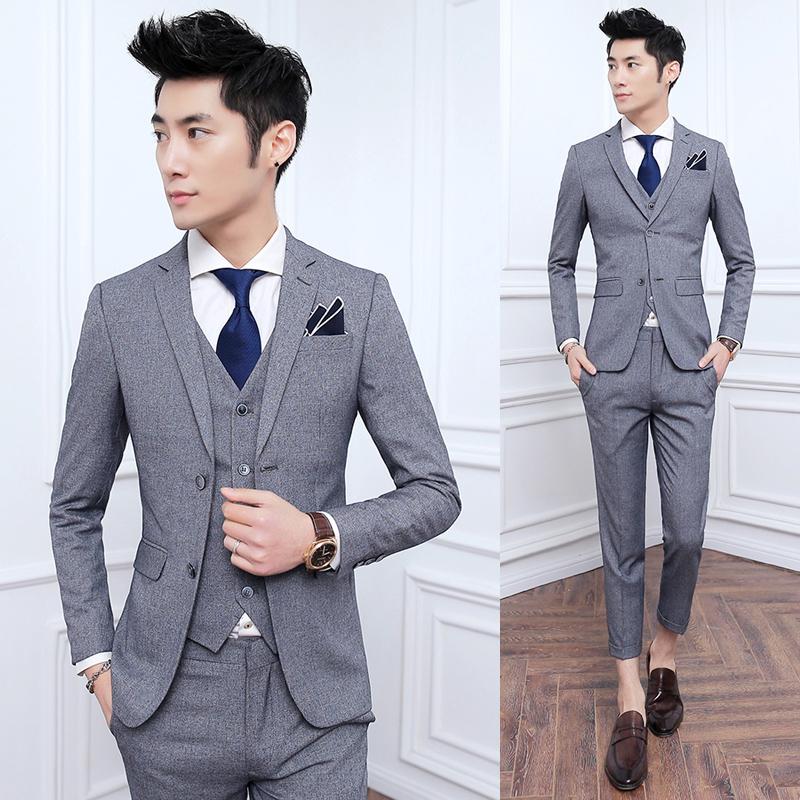 精致韩风套装修身男装旅游适合后中开衩韩版平驳领西服套装