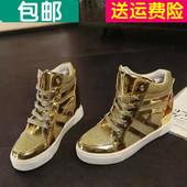 金色高帮鞋 银色内增高单鞋厚底板鞋系带透气运动鞋 春秋新款女鞋