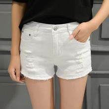 韩版 潮宽松显瘦阔腿热裤 女毛边大码 夏季学生白色弹力破洞牛仔短裤