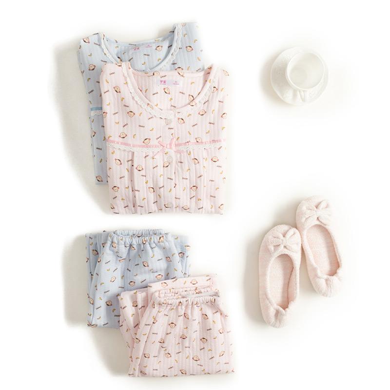 梦蜜小猴 春秋季孕妇喂奶睡衣 空气棉产妇哺乳衣 长袖月子服套装