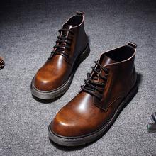 春夏季工装靴真皮英伦复古大头高帮鞋韩版潮流内增高真皮马丁靴男