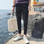 夏季薄款韩版男士牛仔裤修身小脚裤青少年九分裤黑色破洞裤子潮流