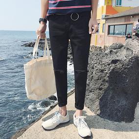 春夏季韩版男士牛仔裤修身型小脚裤青少年九分裤黑色破洞裤子潮流