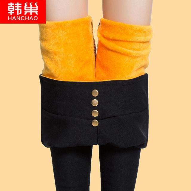 潮秋冬季外穿 打底女裤 韩版 黑色小脚高腰紧身保暖2016新款 加绒加厚