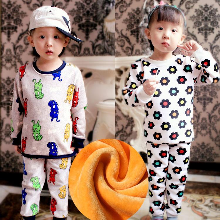 女宝宝女童冬季 加绒加厚纯棉儿童小孩 男孩加厚加绒保暖内衣套装
