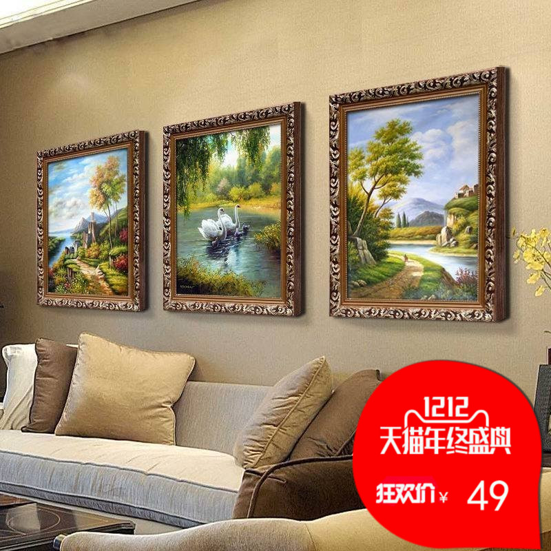 欧式客厅油画玄关挂画美式古典风景三联画沙发背景墙