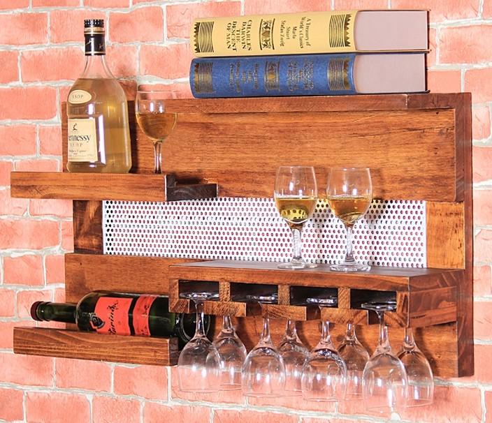 壁挂实木欧式葡萄酒架悬挂置物架餐厅复古高脚杯架红