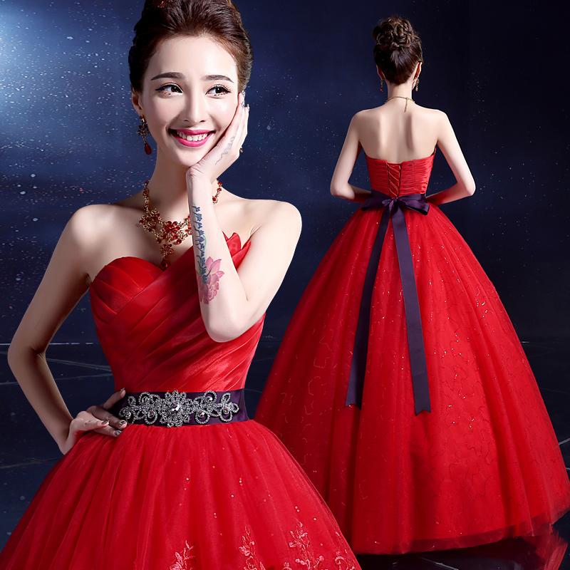 2017夏实拍韩版新娘婚礼长款红色抹胸蓬蓬裙婚纱礼服中腰大码女装