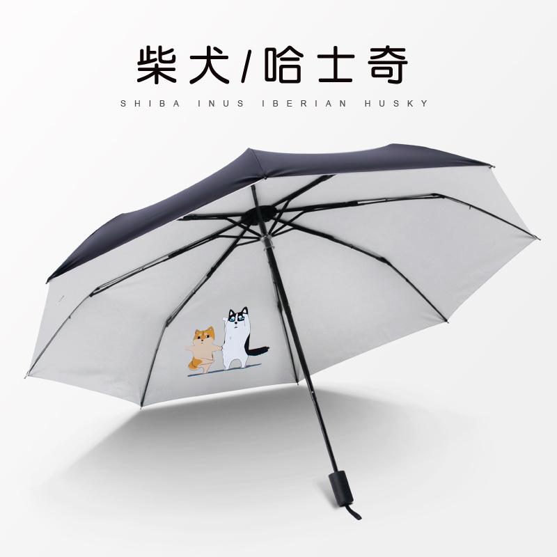 紫外线太阳伞清新女神黑胶防晴雨伞卡通学生遮阳伞两用