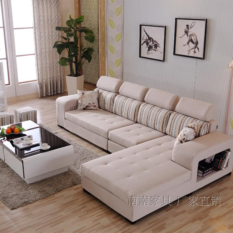 布艺沙发大小户型客厅家具沙发L型转角沙发组合可拆洗 送小凳子