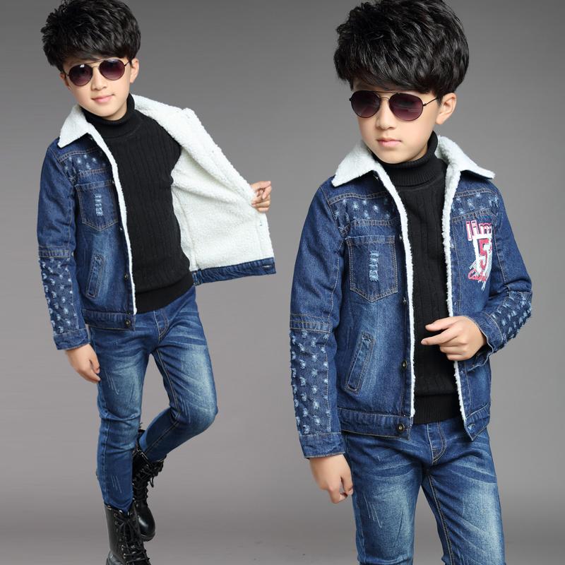 童装男童冬装牛仔上衣长裤两件套纯棉男孩外套秋冬季加绒儿童套装