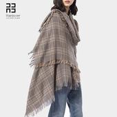 润帛 时尚英伦经典格子纯羊毛披肩女 高端春秋冬季保暖围巾两用长