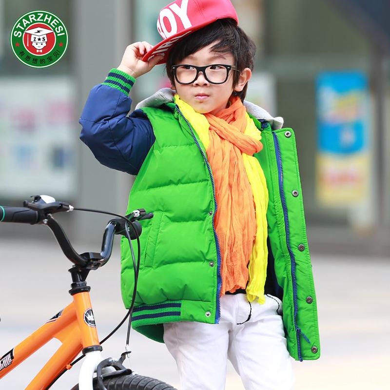 男童棉衣外套加厚保暖 2015新款冬装休闲中大童儿童拼色韩版连帽