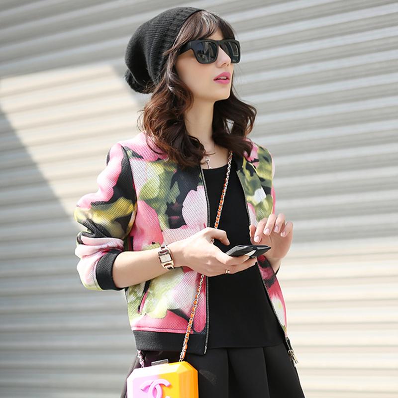 2016春装新款短外套韩版修身显瘦印花春秋薄款棒球服女装夹克