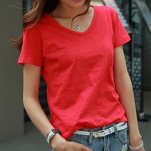 夏装短袖韩版大红色白色宽松休闲 竹节棉V领纯色T恤女装体恤上衣