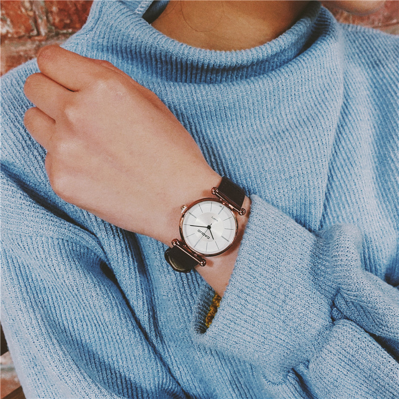 新款女生手表韩版学生潮女简约大方复古2017情侣手表防水时尚款女