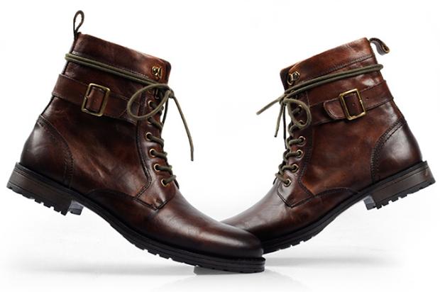 孤品牛货男士高端休闲皮靴英伦头层牛皮男短靴摔纹皮马丁靴2880¥