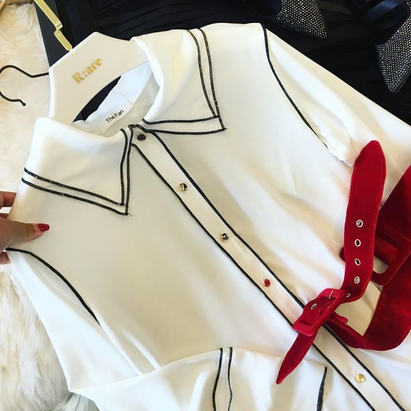 MS/蜜丝 2017春季新品  简洁时尚大牌百搭明线包边长袖雪纺衬衫女