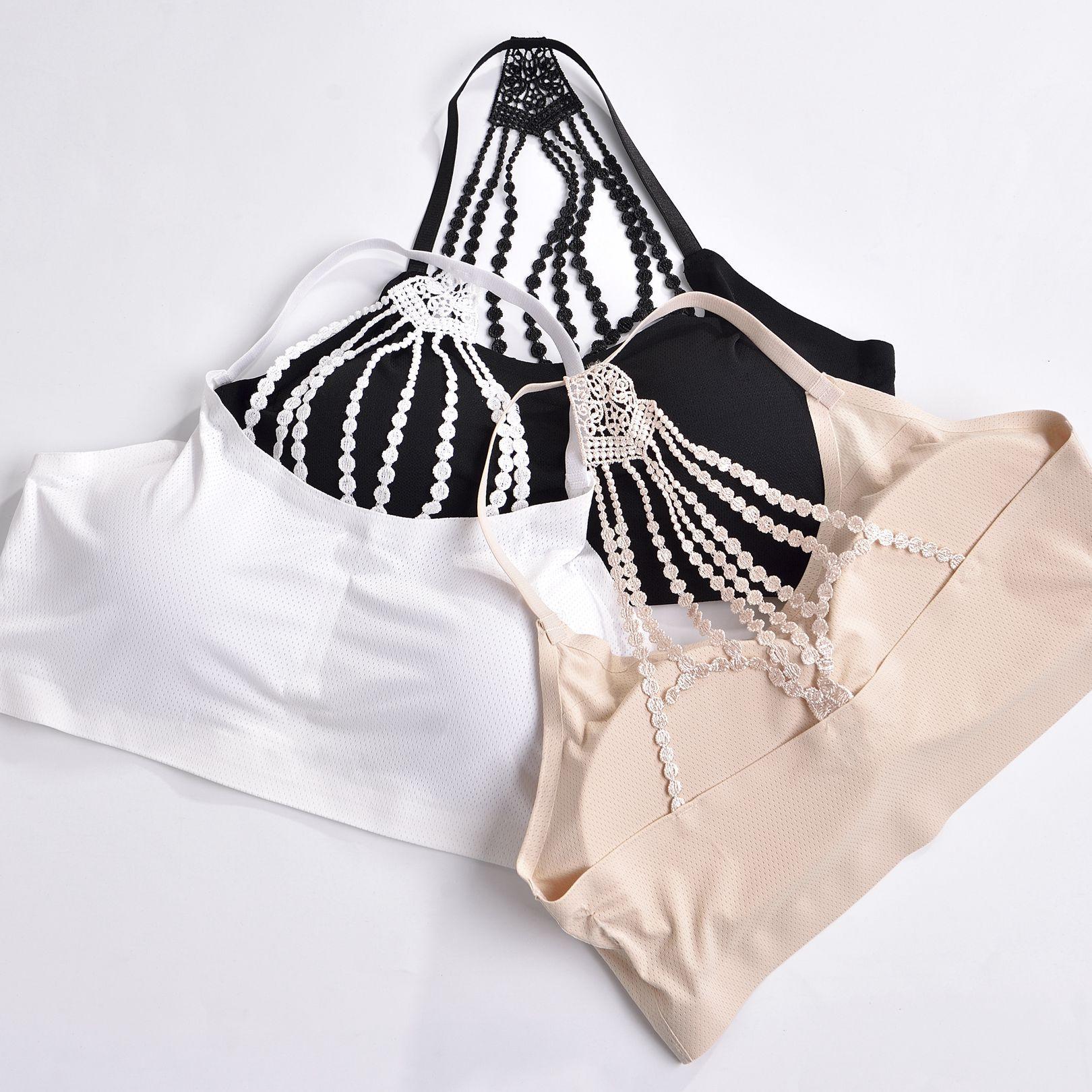 裹胸帶胸繡花內衣背心夏季走光抹胸冰絲無痕美背防女士