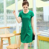 2017夏装新款韩版大码短袖A字裙女 中长款修身显瘦真丝亚麻连衣裙