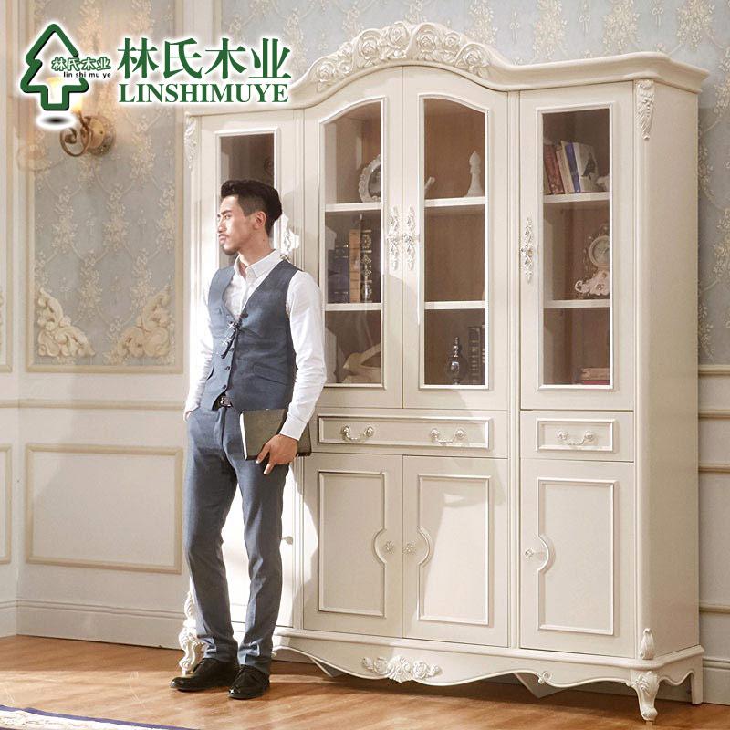欧式四门白色带书柜家用书房玻璃门书橱储物柜子kf