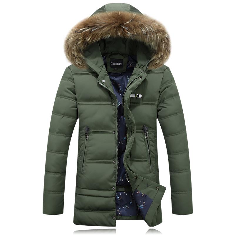 男装衣服时尚中长款加厚保暖男士韩版外套外穿鸭绒休闲羽绒服