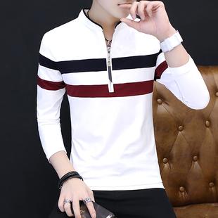 男士长袖t恤秋季2017新款韩版修身潮流青年卫衣男装上衣服体恤男
