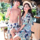 VICKI情侣泳装泳衣女比基尼三件套聚拢韩国沙滩情侣套装男士泳裤