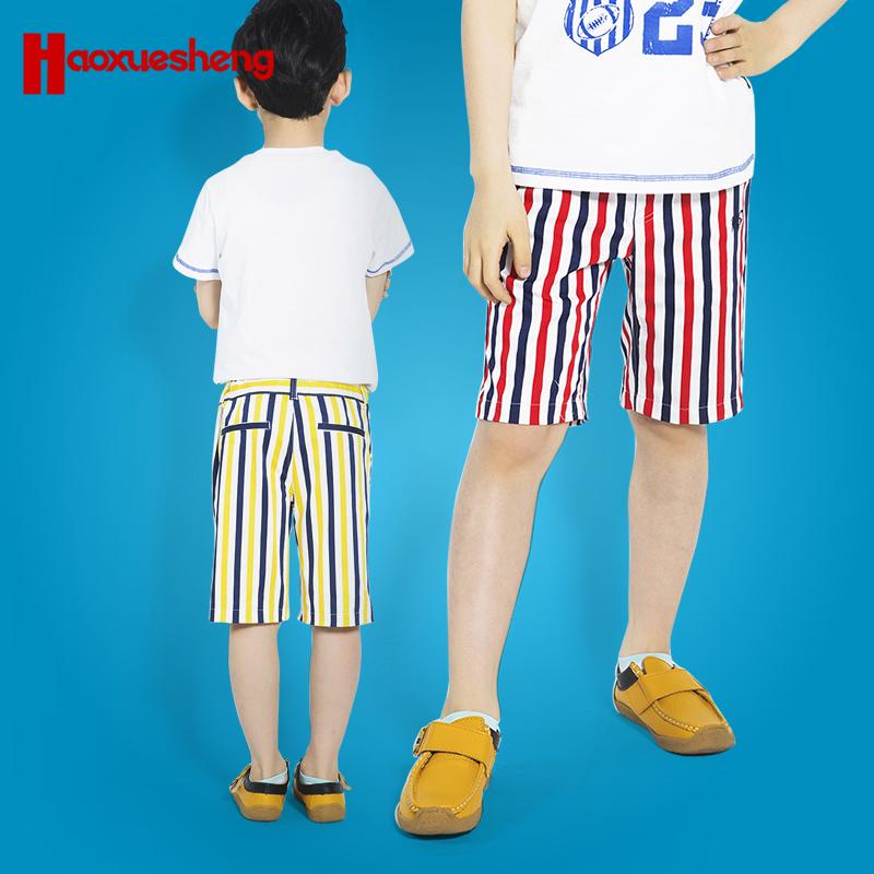 休闲纯棉条纹男童夏季风沙短裤滩裤薄款中大童海军儿童五分
