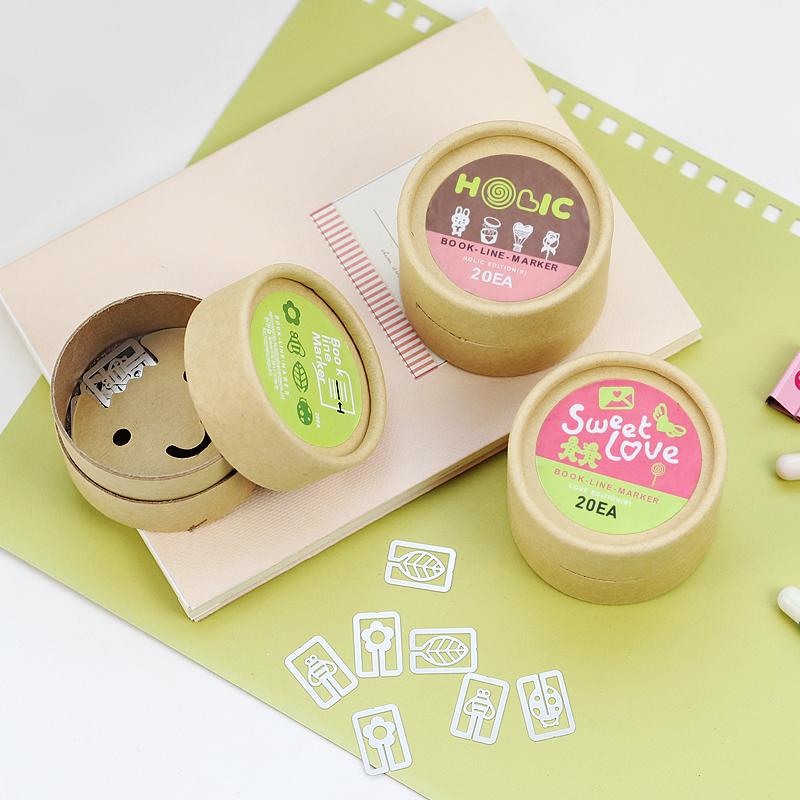 叶米铺铺可爱创意精致牛皮纸盒装金属卡通造型迷你书签20枚入