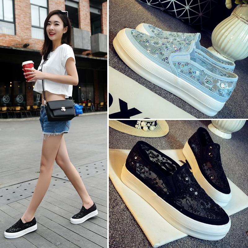 脚蹬网鞋女韩版透气女鞋学生休闲鞋懒人蕾丝鞋子夏季