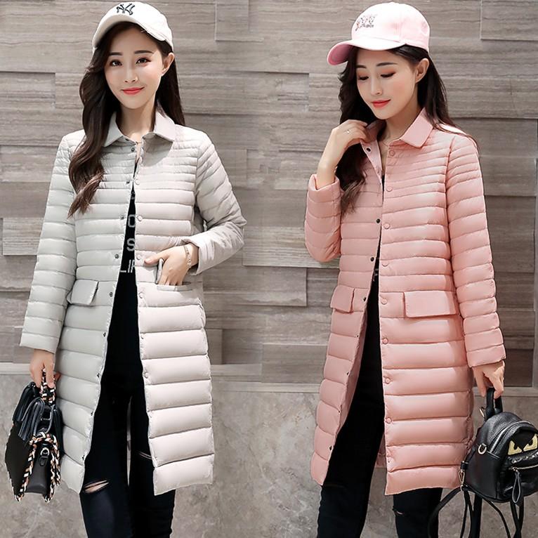 外套2017冬装新款大码女装 中长款过膝轻薄立领修身显瘦羽绒服潮