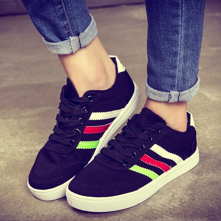 运动鞋彩条休闲鞋春季女学生鞋子女小白平底球鞋