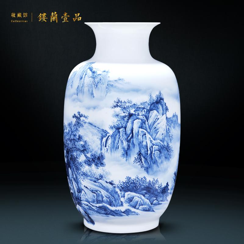 景德镇陶瓷器 名家大师手绘青花瓷花瓶 山乡鸣泉 客厅摆件工艺品